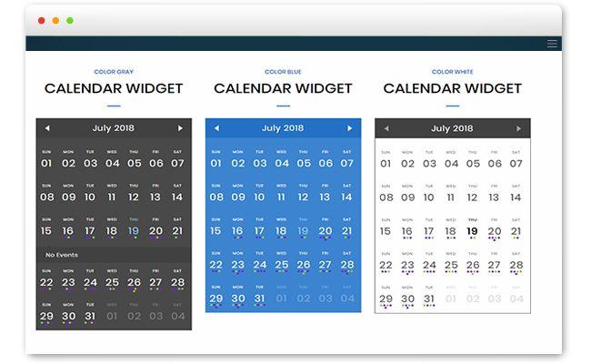 Event calendar widget
